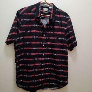 Volcom black & coral tribal collared shirt